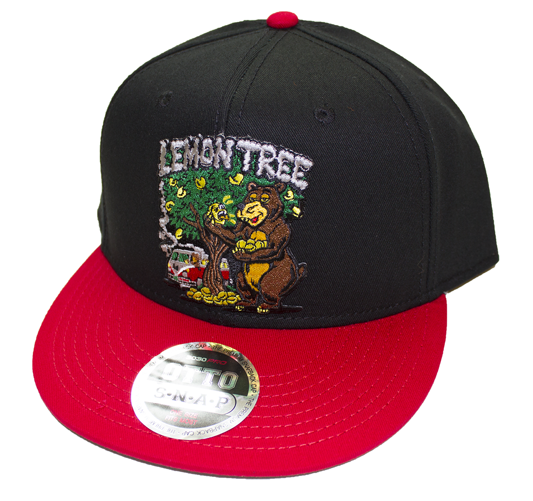 Lemon Tree Bear Black With Red Bill Snap Back