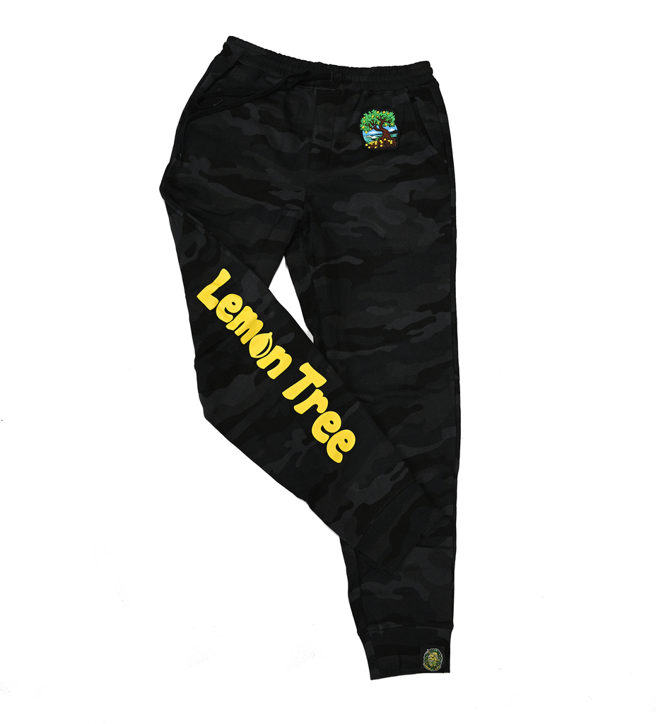 Lemon Tree black Camo Joggers with Roots Tree Patch
