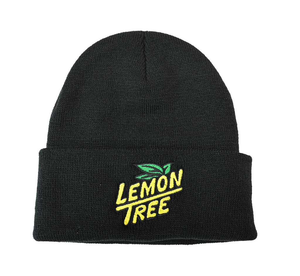 Lemon Tree Beanie embroidered Logo Black