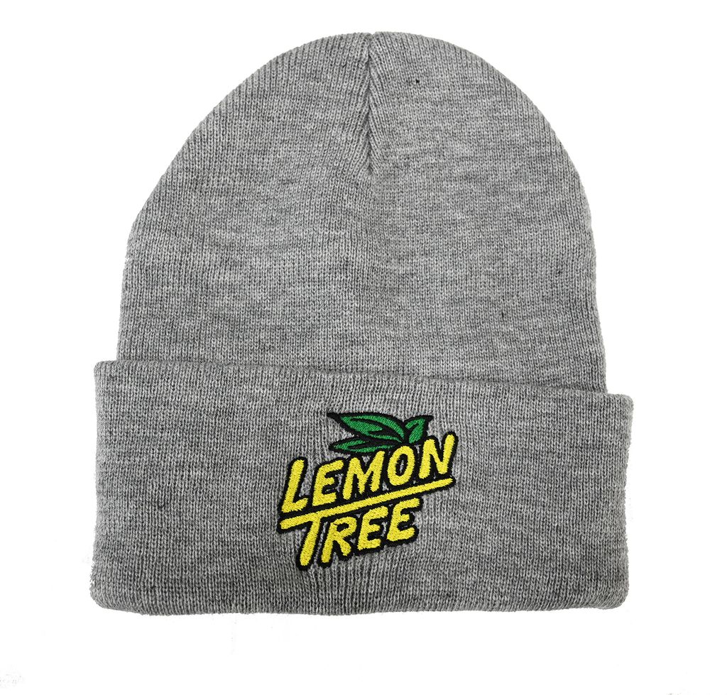 Lemon Tree Beanie Embroidered Logo Grey