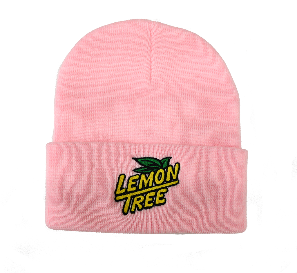 Lemon Tree Beanie embroidered Logo Pink