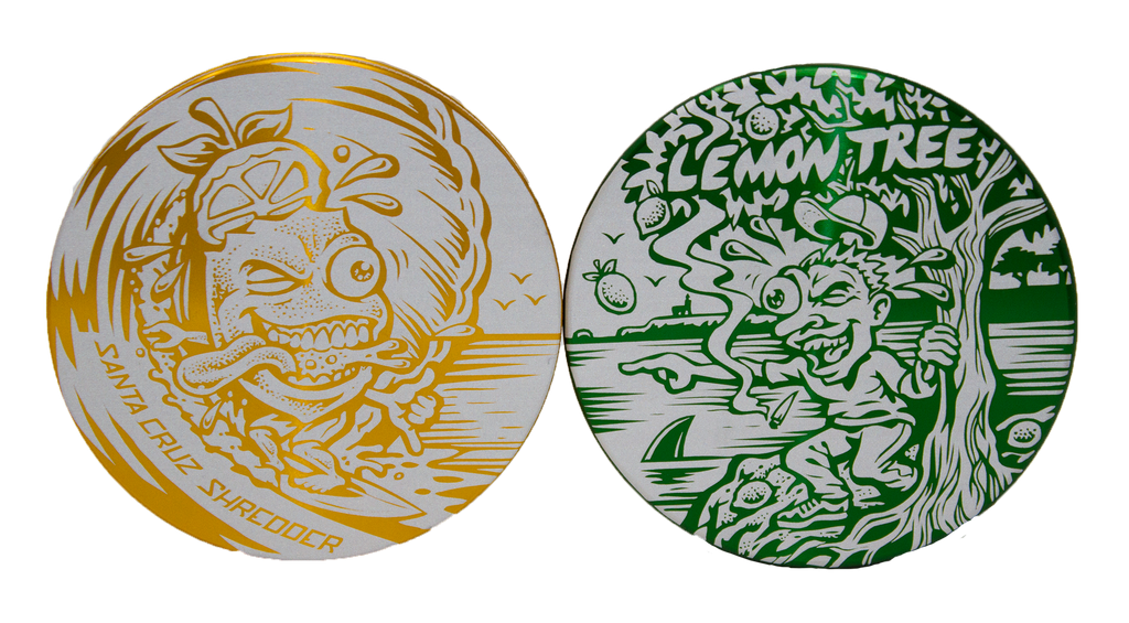 "The ""Surfing Lemon"" & ""Crazy Shawn"" Etched Grinder GREEN AND YELLOW - A Santa Cruz Shredder Collaboration"