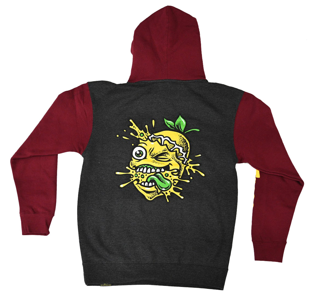 Lemon Splat Two Tone Charcoal Grey/Maroon Hoodie