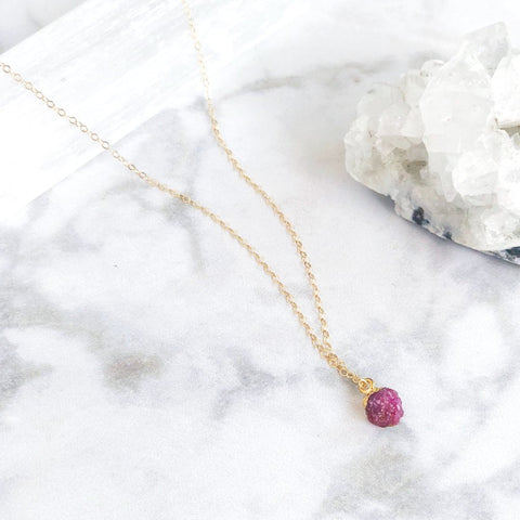 July Birthstone Necklace (Ruby)