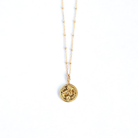 Leandra Evil Eye Coin Necklace