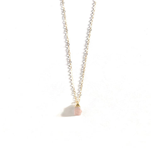 October Birthstone Necklace (Pink Opal)