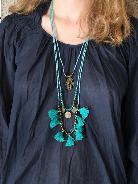 Ayla Hamsa Necklace with Tassels