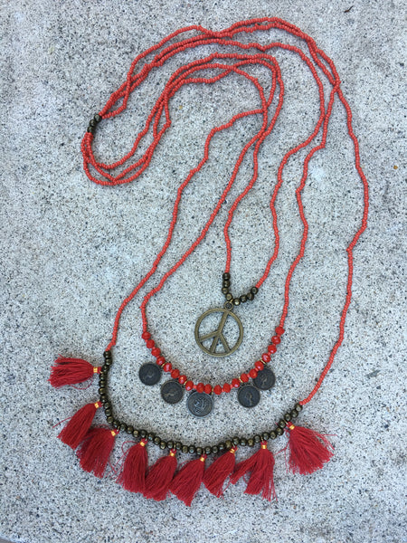 Peace & Love Tassel Necklace