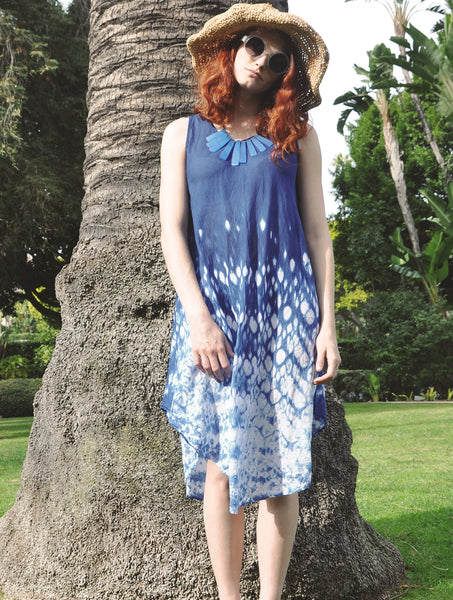 5800 Indigo tie-Dye Dress