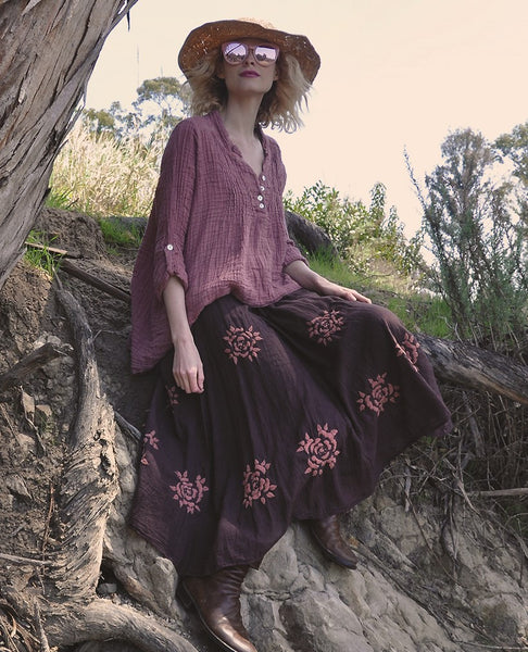 8230 Flower Child Hand Embroidered Skirt