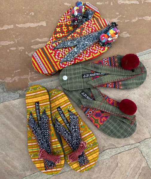 Exclusive Offer on 3 Hand Picked Hand Embroidered Hill Tribe Fabric Sandal Samples