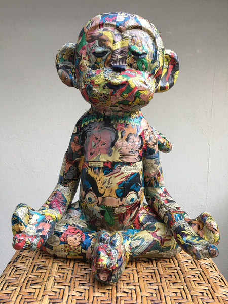 Papier-Mache, meditation, monkey, art object