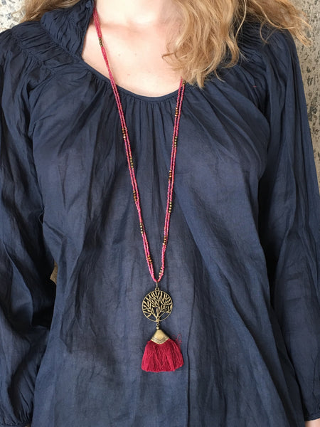Alara Necklace with Banyan Tree and Flat Tassel