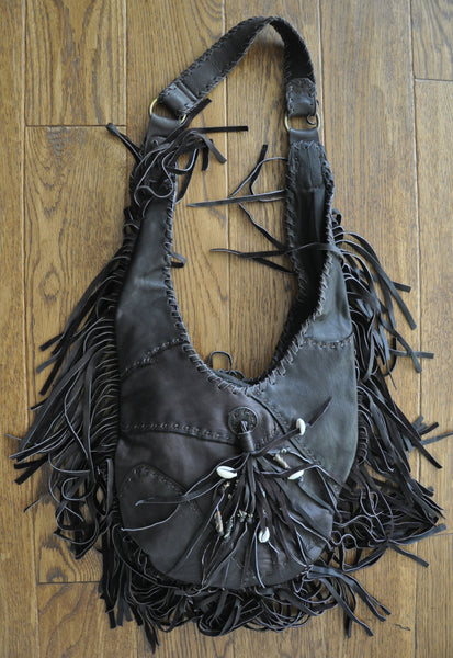 Yorino Tear Drop Shape Recycled Leather Fringe Bag