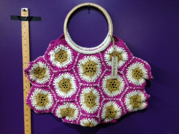 Jaqueline - A - Hand Crochet Bag with Bamboo Handle