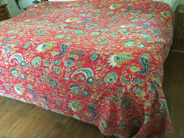 kantha quilt with tulip designs, handmade, artisan bed cover