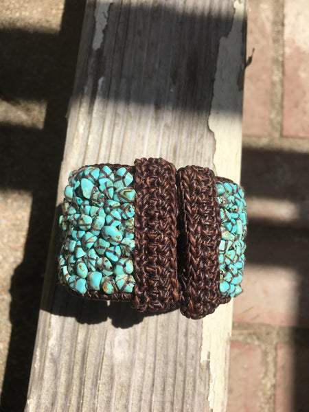 Woven Turquoise Howlite Wide Bracelet