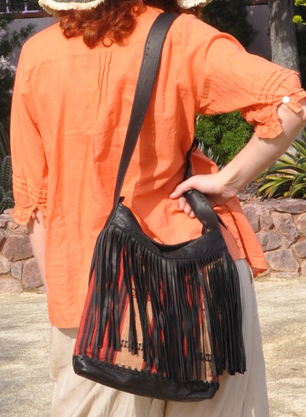 Yakari Naka Hill Tribe Fabric and Leather Fringe Bag