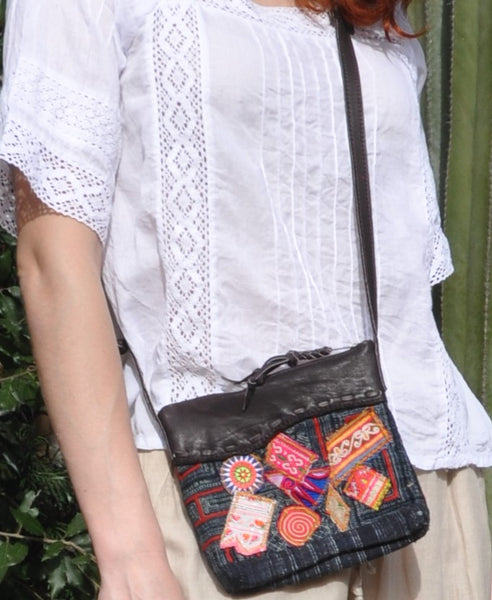 Yar Cross-Body Bag with Hill Tribe Fabric Patches and Recycled Leather