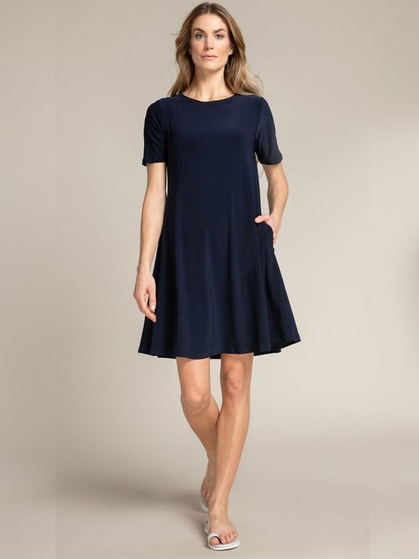 Trapeze Dress-Navy