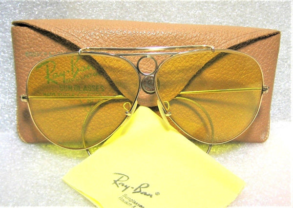 7009818ddd Sold Out Ray-Ban USA NOS Vintage 1950 60s B L Aviator Kalichrome 12kGF  Shooter Sunglasses