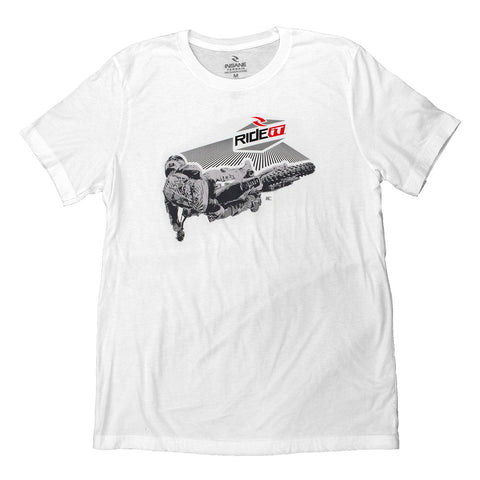 Men's Ride it-JC Collection Back Whip White T-Shirt