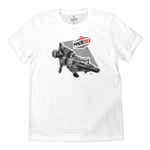 Men's Ride it-JC COLLECTION CORNER SHOT  WHITE  T-SHIRT