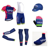 7pcs full set Team lampre cycling jersey breathable summer Short sleeve bike clothing