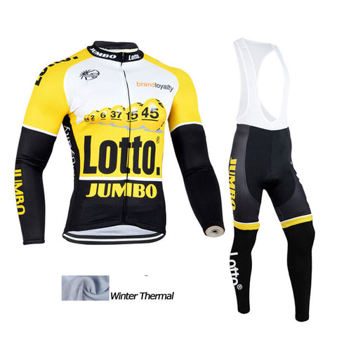 A10 Lotto Winter thermal fleece cycling jersey Set