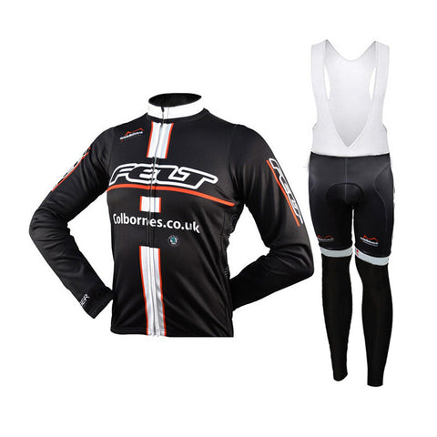 A15 Winter thermal fleece cycling jersey+bibs long sleeve set