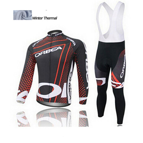 A21 Orbea Winter cycling clothing thermal fleece long cycling jersey+bibs Set