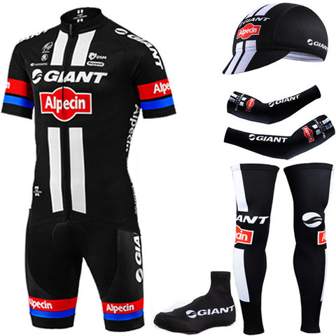6 Pieces Giant cycling jersey bibs set with sleeve warmers and half finger BIEK GLOVES