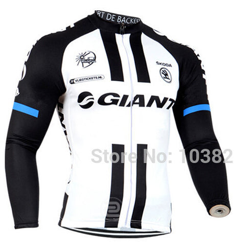 A12 Giant Pro Team Men's Winter Thermal Fleece Cycling Jersey