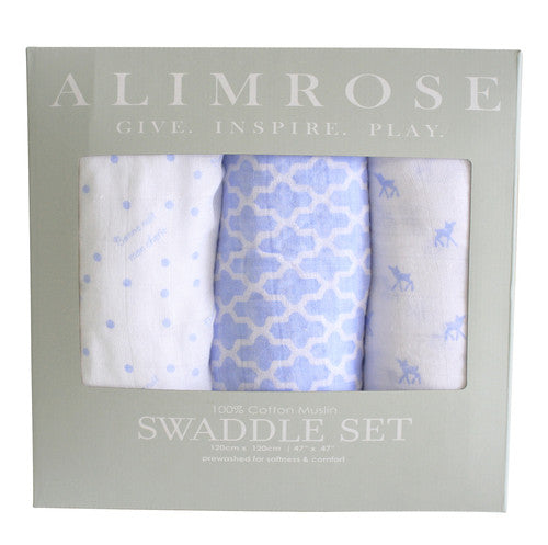 Alimrose Muslin Swaddles - Pale Blue - Charlie Harrison Baby Gifts