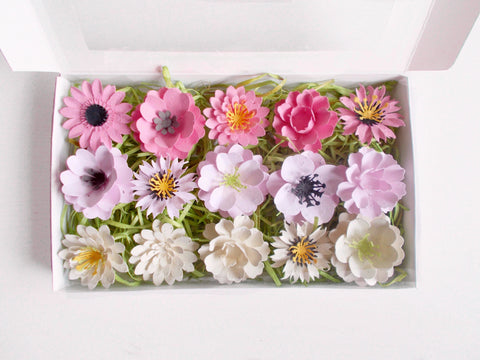 Gardening Gift Set of Pink Flowers Made With Seeded Paper