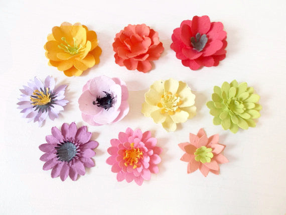 Seeded Paper Flower Assortment of 10