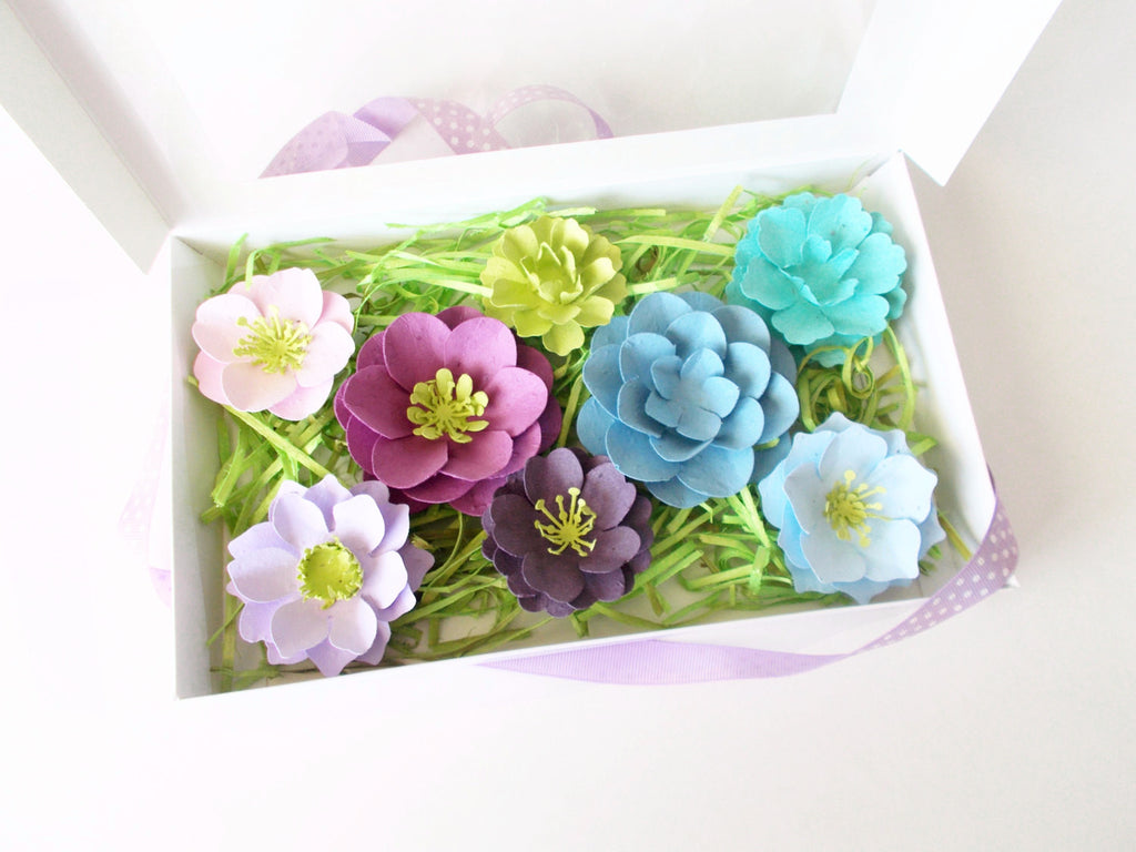 Purples and Blues Seeded Paper Flower Sample Set