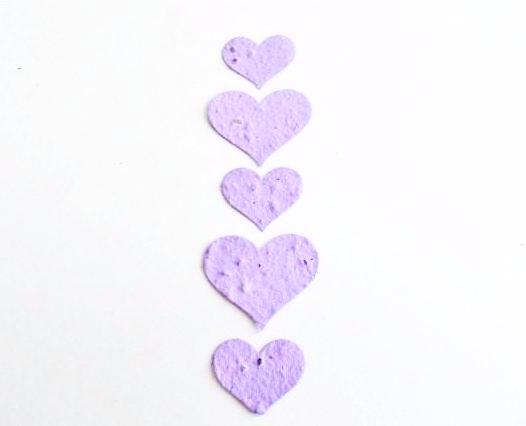 Lavender Purple Plantable Paper Hearts