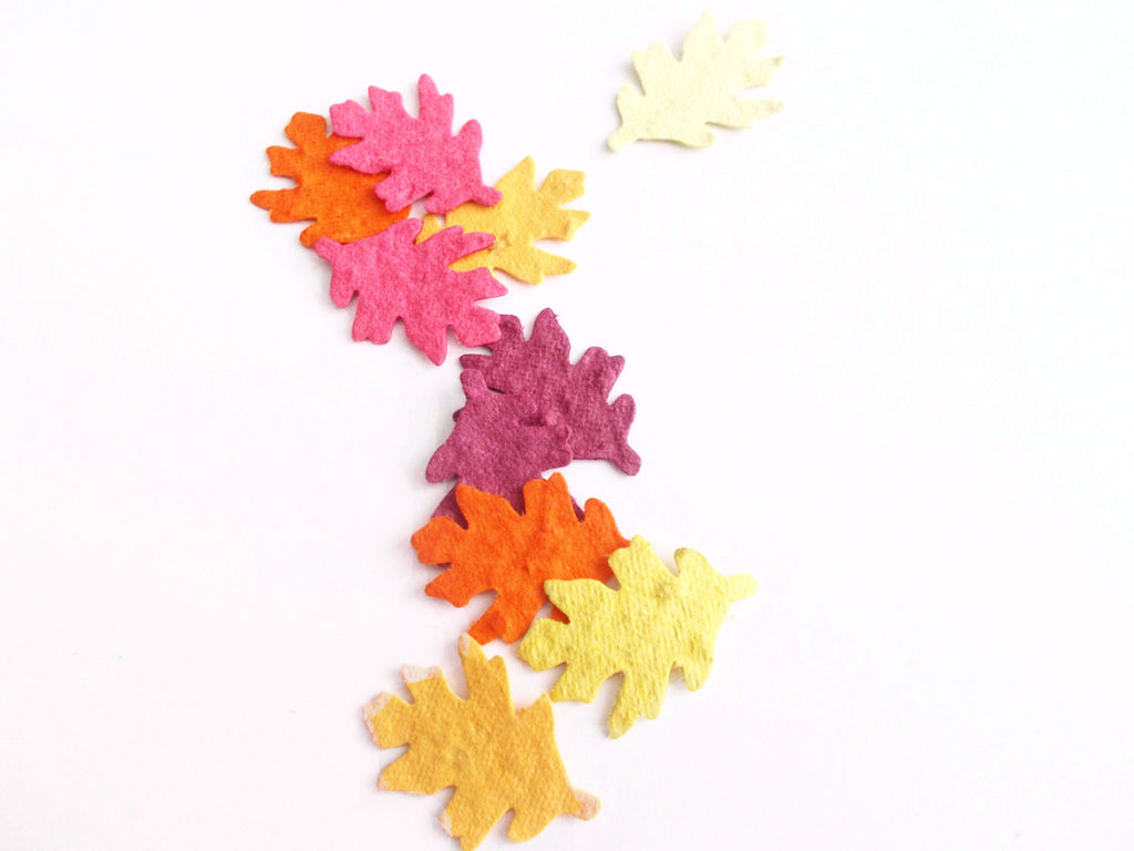 Oak Leaf Seeded Paper Confetti in Fall Colors