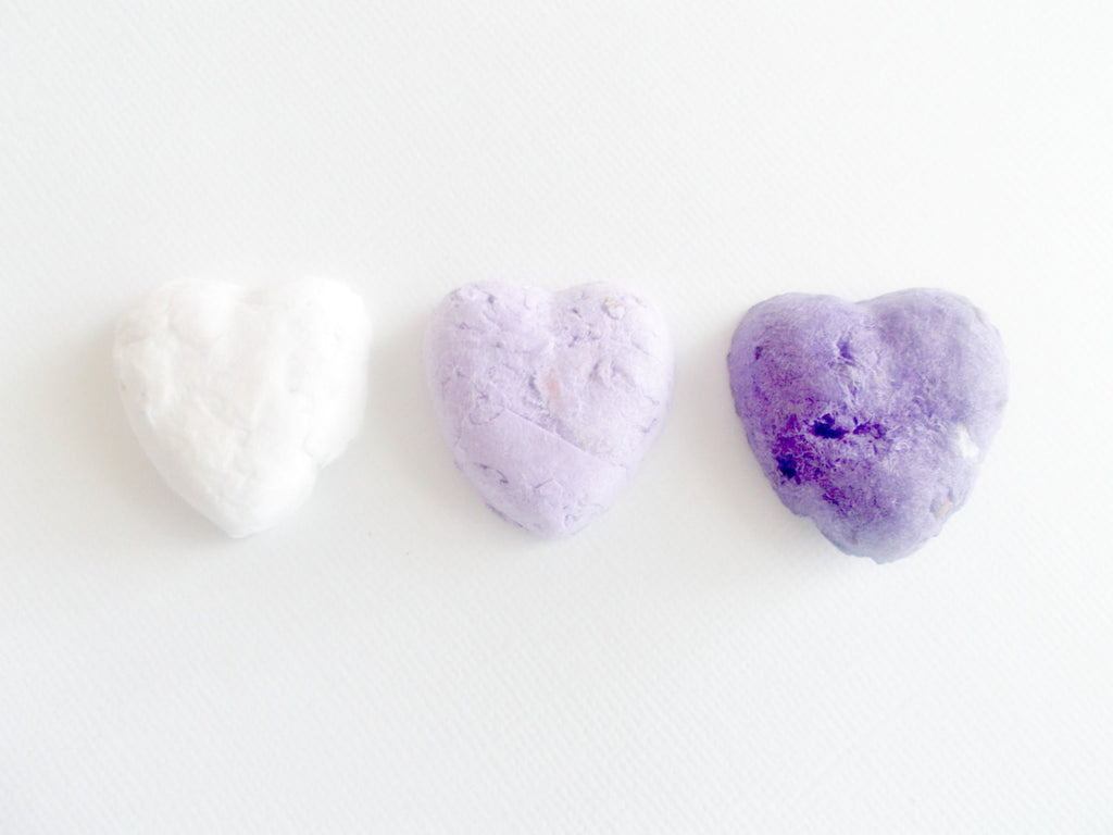 Purple Wedding Favors - Eco Friendly Heart Shaped Seed Bombs - Plantable Paper With Wildflower Seed Balls - Purple Ombre Mix