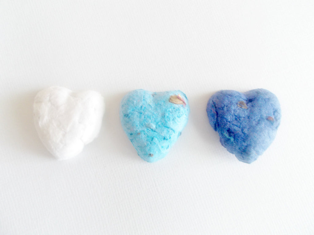 Eco Friendly Wedding Favors -Blue Ombre Heart Shaped Seed Bombs -Plantable Paper With Wildflower Seed Balls