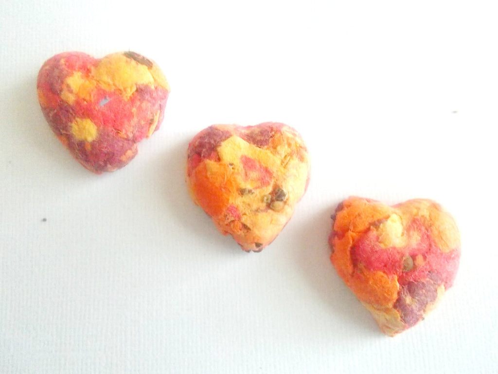 50 Eco Friendly Seed Bomb Hearts  - Plantable Paper With Wildflower Seed Balls - Fiery Orange Tie Dye Mix