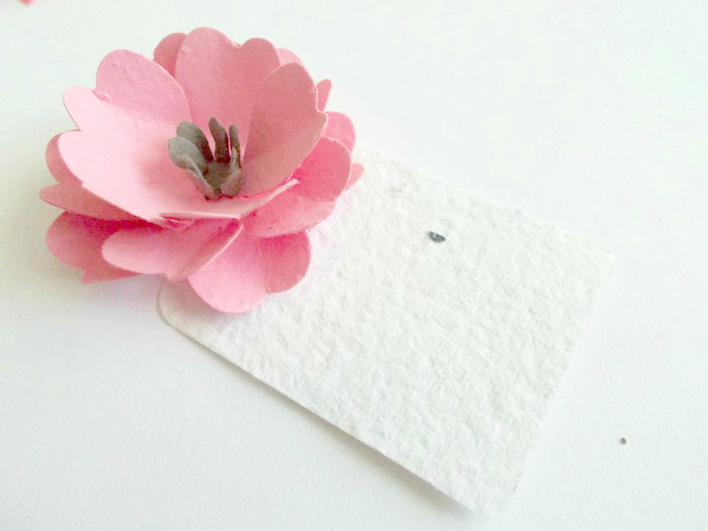 Wedding Place Cards - Set of 100 Pink Anemone - Made With Paper Embedded With Wildflower Seeds