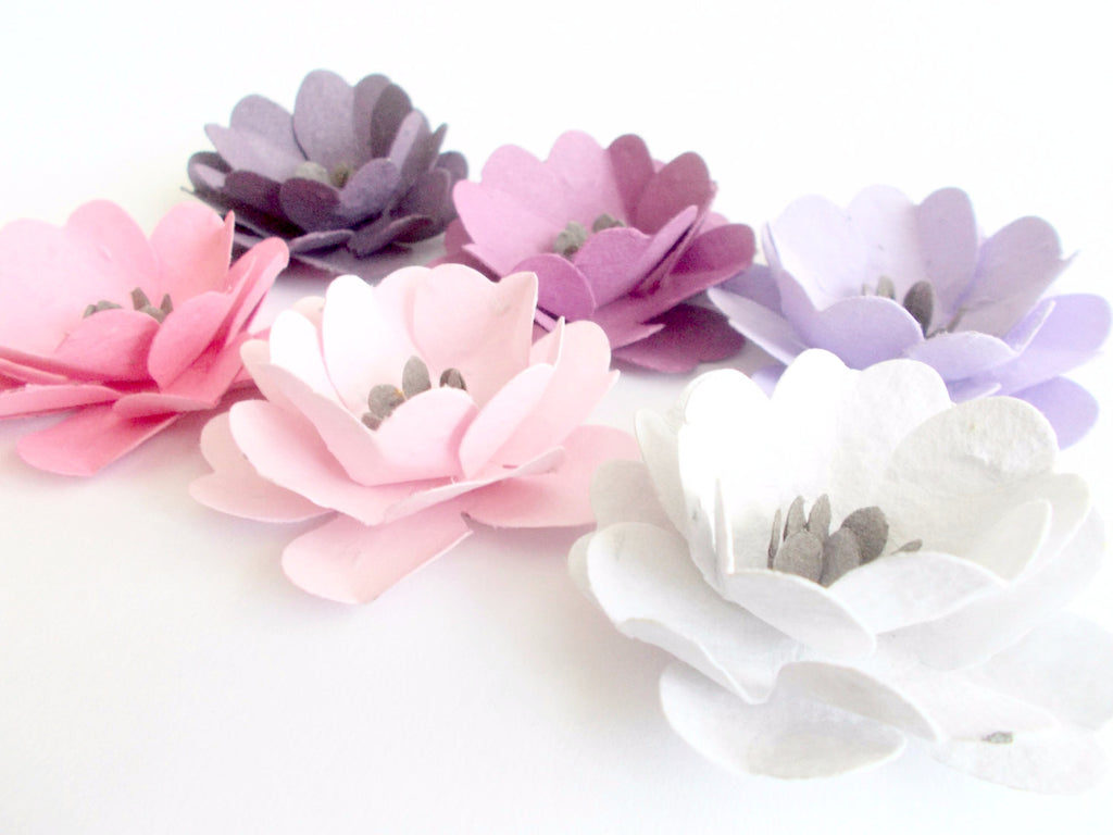 Bon Anemone Wedding Flowers   Seed Paper Embedded With Wildflower Seeds   Plantable  Seed Favors
