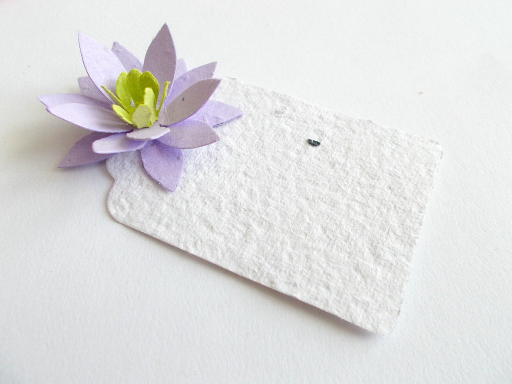 Purple Seed Paper - Lotus Flower Place Cards - Set of 100 Lavender Star Flowers - Made With Plantable Paper Embedded With Wildflower Seeds