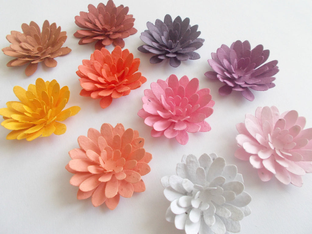 50 Plantable Paper Mum Flowers - Eco Friendly Wedding and Party Decor - Made With Paper Embedded With Wildflower Seeds