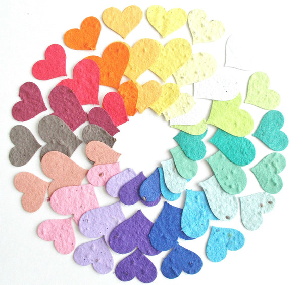 Small Plantable Paper Hearts Made With Seeded Paper -100 in Your Choice of Colors