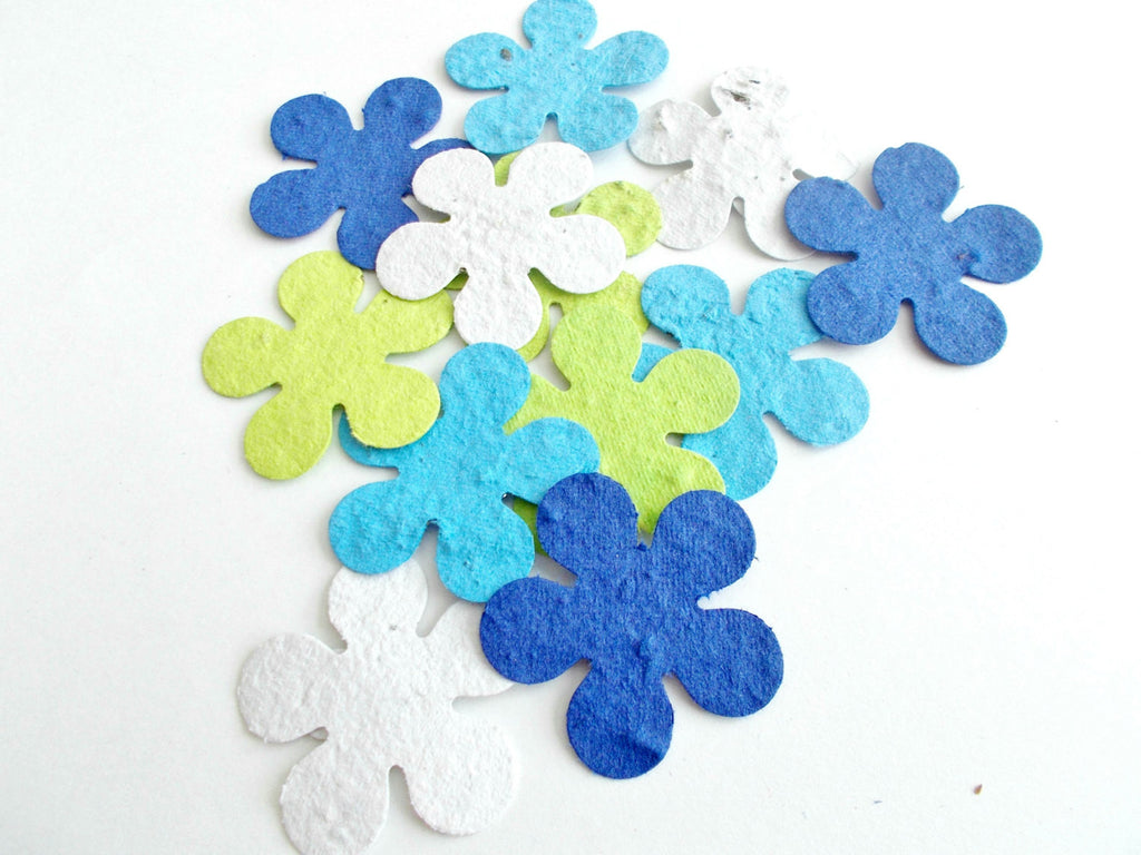 Seeded Paper Tropical Flowers - Seaside Mix of Royal Blue, Turquoise, Lime Green and White - Eco Friendly Luau Party Decor