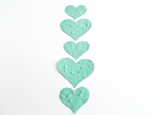 Sage Green Plantable Seed Paper Hearts Embedded With Wildflower Seeds