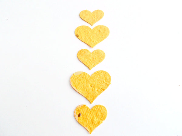 Golden Yellow Seeded Paper Hearts